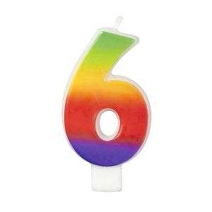 Rainbow-Colored Numeral #6 Candle
